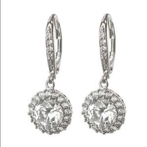 Kenneth Jay Lane Round-cut CZ and Pave Halo Drops